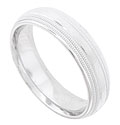 This 14K white gold mens wedding band features a satin finished central band flanked by double rows of bold milgrain decoration