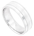 This 14K white gold mens wedding band features a satin finish, carved with two brightly polished stripes