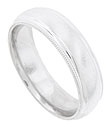 Distinctive milgrain decoration finishes the edges of this satin finished mens wedding band