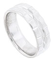 Large, faceted square links cover the edges of this 14K white gold mens wedding band