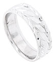 Jewel carved leaves decorate the surface of this 14K white gold mens wedding band