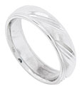 The satin finished surface of this 14K white gold mens wedding band is carved with a repeating pattern of diagonal lines