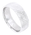 This satin finished mens 14K white gold wedding band is engraved with a pair of rings on either edge and carved through with pairs of diagonal lines