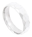 This satin finished mens 14K white gold wedding band is engraved with a faceted honeycomb pattern