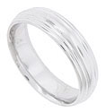Smooth, rounded bands cover the surface of this 14k white gold mens wedding band