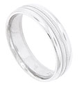 Two large stripes of bold milgrain decorate the center of this 14K white gold mens wedding band
