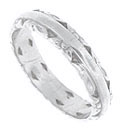 This lovely platinum estate wedding band is a mixture of floral flourishes and simple design