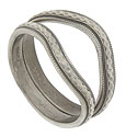 These 14K white gold stackable wedding bands are covered in an softened, engraved chain pattern