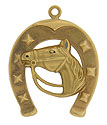 This handsome 18K gold vintage charm features a neighing horse framed by a large horse shoe