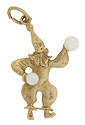 This whimsical 14K yellow gold juggling clown is the epitomy of the 1950's