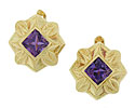 Rich hued square cut amethysts glow from the center of these 18K yellow gold antique earrings