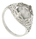 An airy organic filigree covers the sides and shoulders of this platinum antique style engagement ring mounting