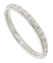 This delicate platinum antique style wedding wedding band is copied from the original antique wedding band