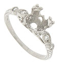 This spectacular platinum engagement ring mounting is designed with a deep shank to hold a 1.33 - 1.47 carat round stone