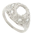 Detailed organic filigree and engraving adorns the face and sides of this platinum engagement ring mounting