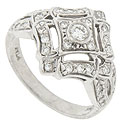 This lovely 14K white gold engagement ring is set with .45 carat total weight of round faceted diamonds