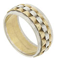 This retro-modern wedding band is crafted of alternating bands of 14K yellow and white gold