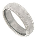 The center of this palladium antique style men's wedding band is simply styled with a matte finish