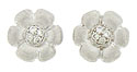 These charming antique style floral earrings are fashioned of 14K white gold and set with fine faceted diamonds