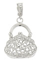 This whimsical pendant is fashioned of 14K white gold and formed into the shape of a evening bag