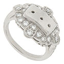 This phenomenal antique style engagement ring mounting will hold three 3.0mm stones