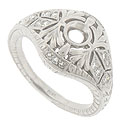 A study in contrast, this beautiful platinum engagement ring mounting is adorned with a smooth polished filigree and draped with diamond encrusted abstracts