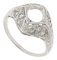 This fantastic platinum engagement ring mounting is embellished with an ornately engraved filigree and set with glittering diamonds