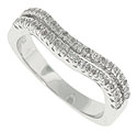 Two waves of undulating diamonds cover the face of this 14K white gold stackable wedding band