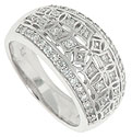 Diamond encrusted stars stretch across the face of this antique style 14K white gold wedding band