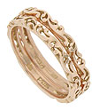 These 14K pink gold stackable wedding bands feature a flowing design done in relief