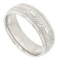Engraved curving lines form an open braid in the center of this 14K white gold mens wedding band