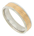 This bi-color mens wedding band is fashioned of 14K white gold with a central band of diagonally engraved rose gold