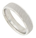 This 14K white gold mens wedding band is embellished with a pattern of cross hatched diagonal channels