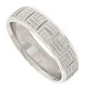 This distinctive 14K white gold mens wedding band features an alternating pattern of large abstract woven squares, separated by deeply carved channels