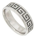Deeply carved greek key designs adorn the face of this 14K white gold mens wedding band