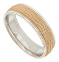 The center band of this 14K white gold mens wedding band is frosted in rose gold and engraved with large rippling waves