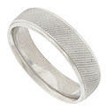 A repeating pattern of diagonal carved ridges cover the face of this 14K white gold mens wedding band