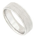 This 14K white gold mens wedding band is engraved in a pattern of radiating arrows