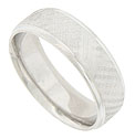 A cross hatched engraving decorates the surface of this 14K white gold mens wedding band
