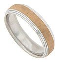 A central band of satin finished rose gold covers the surface of this 14K white gold mens wedding band