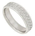 A triple layer of circular scales adorn the surface of this 14K white gold mens wedding band