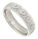 "This 14K white gold satin finished mens wedding band is engraved with a repeating pattern of distinctive curls and ""v's"""
