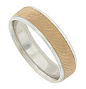 Curving swipes of 14K rose gold frost the face of this 14K white gold mens wedding band