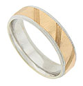 This 14K bi-color mens wedding band features a central band of polished rose gold engraved with diagonal lines