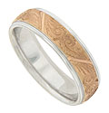 Engraved organic detailing adorns the center of this 14K rose and white gold mens wedding band