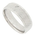 Engraved vertical ridges interrupted by three  horizontal lines decorate the surface of this 14K white gold mens wedding band