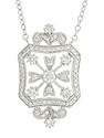 This spectacular 14K white gold antique style necklace is frosted with .65 carat total weight of round faceted diamonds