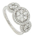 This exceptional 14K white gold antique style engagement ring is set with 1 carat total weight of round faceted diamonds