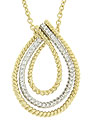 This 14K bi-color necklace features an elegant teardrop pendant