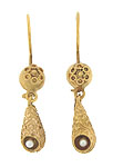 These breathtaking antique estate earrings are crafted of 14K yellow gold and decorated in  elaborate organic etruscan work